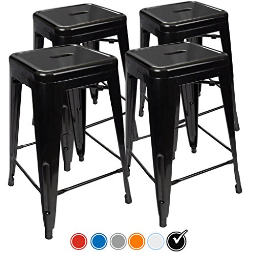 24 Counter Height Bar Stools Black By Urbanmod Set