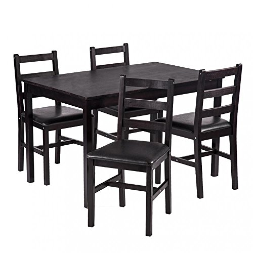 Dining Room Tables And Chairs For 4: 5PCS Dining Table Set Pine Wood Kitchen Dinette Table With