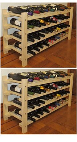 DisplayGifts Wine Rack Stackable Storage Stand, Solid Wood Display Shelves (80 Bottle Capacity)  ...