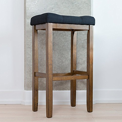 29 Inch Vintage Wood Bar Stool Dining Chair Counter Height: Wood Kitchen Pub-Height Bar Stool