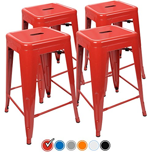 24 Counter Height Bar Stools Red By Urbanmod Set Of