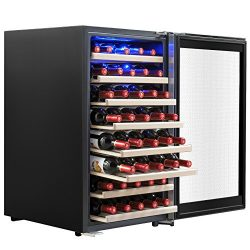 AKDY 52 Bottles Built-in Compressor Single Zone Adjustable Touch Control Panel Freestanding Wine ...