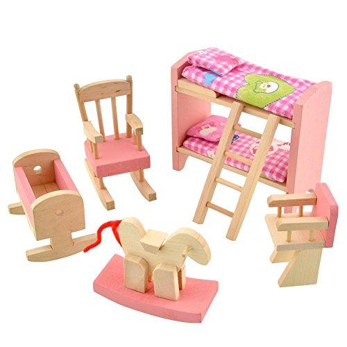 Girls Kids Childrens Wooden Nursery Bedroom Furniture Toy: Peradix Wooden Doll House Furniture Set,Miniature Bathroom