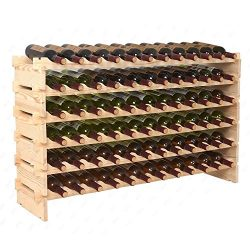 Smartxchoices Stackable Modular Wine Rack Stackable Storage Stand Wooden Wine Holder Display She ...