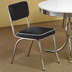 Coaster Home Furnishings Contemporary Dining Chair, Black, Set of 2