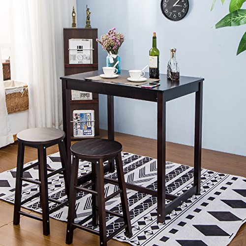 3 Piece Dining Set Bar Stools Pub Table Breakfast Chairs: Merax 3-piece Dining Table Set High/Pub Table Set With 4