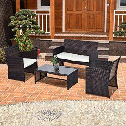 Tangkula 4 Piece Outdoor Patio Sofa Set Lawn Garden Outdoor PE Rattan Wicker Furniture Sets (Brown)