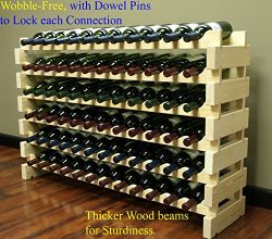 Stackable Modular Wine Rack Stackable Storage Stand Display Shelves, Wobble-Free, Pine wood, (72 ...