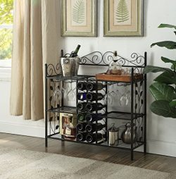 Black Metal Six (6) Shelf Kitchen Bakers Rack Console Table with 12 Bottles Wine Storage and 12  ...