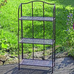 The Grammercy Bakers Rack, Woven Metalwork Shelves, Romantic Vintage Style, Bronze Black Rust Re ...