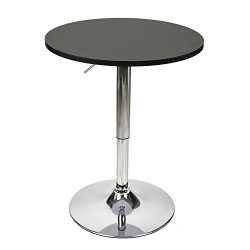 35 Inches Height Pub Table Round Black Mdf Top, with Chrome Leg And Base
