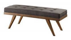 Homelegance Bingsley 51″ Fabric Seating Bench with Button Tufted Accent, Cherry