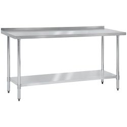 Best Choice Products 72″ x 24″ Stainless Steel Work Prep Table W/ Backsplash For Com ...