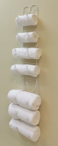 Useful UH-TR221 Wall Mounted Towel and Wine Bottle Rack Holder, Holds 5 or 8 Bottles (White)
