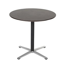 Sunon 31.5″ Round Wood Cocktail Table, X-style Pedestal Small Round Dining Table for Pub B ...