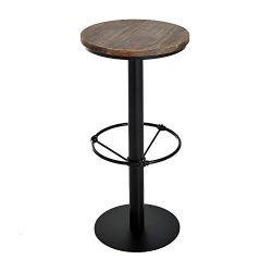 HomCom Round Industrial Metal Wood Top Bar Height Pub Table
