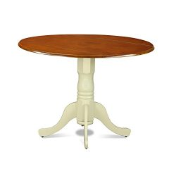 East West Furniture DLT-BMK-TP Dublin Round Table With Two 9″ Drop Leaves In Buttermilk An ...