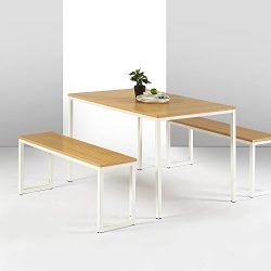Zinus Modern Studio Collection Soho Dining Table with Two Benches / 3 piece set, White