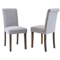 Merax Stylish Dining Chairs with Nailhead Detail and Solid Wood Legs, Set of 2 (Slate grey)
