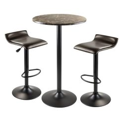 Winsome Wood Cora 3-Piece Round Pub Table with 2 Swivel Stool Set