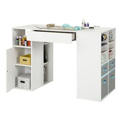 South Shore Crea Pure White Counter-Height Craft Table and Stool