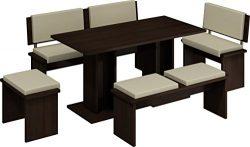 5 Pc Breakfast Kitchen Nook Table Set, Bench Seating, Dark Oak with Beige