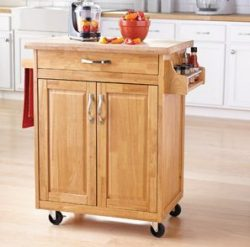 Mainstays Kitchen Island Cart, Natural. This Stylish Kitchen Furniture Has a Solid Wood Top. Kit ...