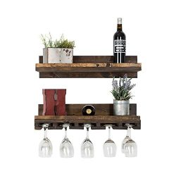 Floating Wine Shelf and Glass Rack Set (Wall Mounted), Rustic Pine Wood Handmade by del Hutson D ...