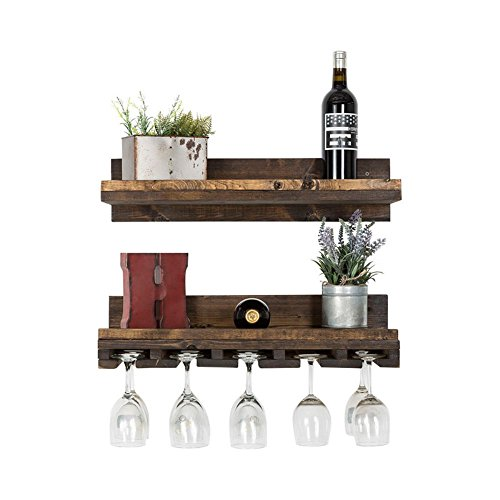 Floating Wine Shelf And Glass Rack Set Wall Mounted