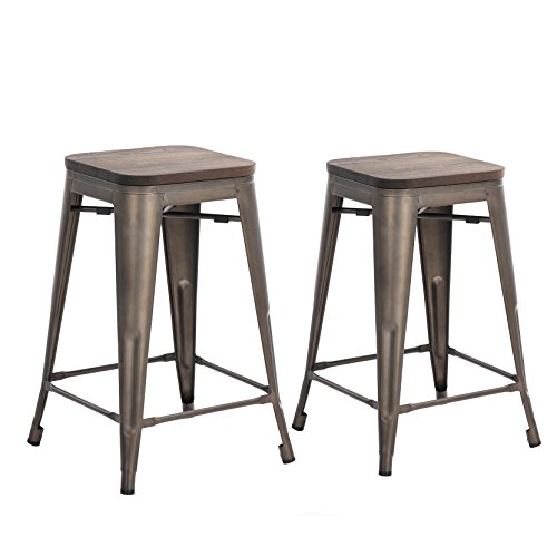 buschman set of two bronze wooden seat 24 inches counter heighttolix style metal bar stools. Black Bedroom Furniture Sets. Home Design Ideas