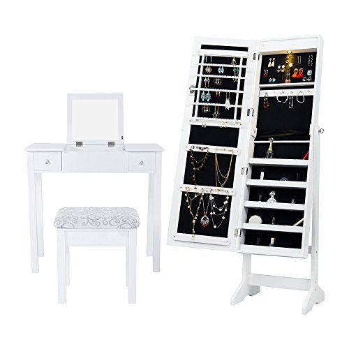 Cloud mountain mirrored jewelry armoire jewelry cabinet - Mirrored free standing bathroom cabinet ...