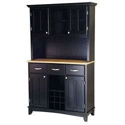 Home Styles 5100-0041-42 Buffet of Buffets Natural Wood Top Buffet with Hutch, Black Finish, 41- ...