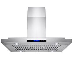 AKDY® 36″ Stainless Steel Island Mount Powerful Kitchen Vent Cooking Fan Touch Screen Cont ...