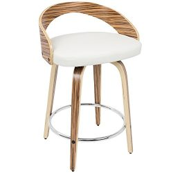 WOYBR CS-JY-GRT ZB+W Bent Wood, Pu Leather Grotto Counter Stool