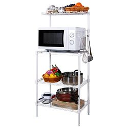 Lifewit 4-Tier Bakers Rack, Microwave Oven Stand with Hanging Hooks for Kitchen Storage, Carbon  ...