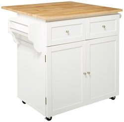 Coaster Home Furnishings  Mobile Kitchen Trolley Cart with Butcher Block Top – Natural / White