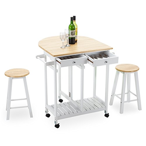 4 Family Rolling Kitchen Island Cart Trolley With 2 Stools