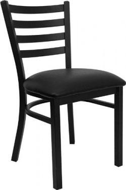 Flash Furniture 4 Pk. HERCULES Series Black Ladder Back Metal Restaurant Chair – Black Vin ...