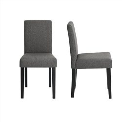 WarmCentre Urban Style Dining Chair Set of 2 Natural Linen & Cotton Fabric Accent Parson Kit ...