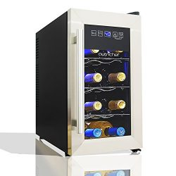 NutriChef 8 Bottle Thermoelectric Wine Cooler / Chiller   Counter Top Red And White Wine Cellar  ...