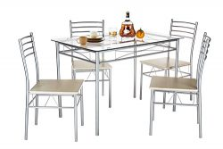 VECELO Dining Table with 4 Chairs – Silver