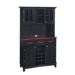 Home Styles 5100-0042-42 Buffet of Buffets Medium Cherry Wood Top Buffet with Hutch, Black Finis ...