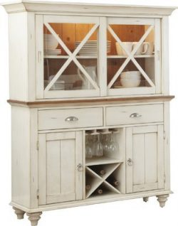 China Cabinet Made Of Wood in Antique White Color With French and English Construction Design Sh ...