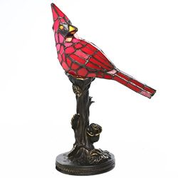Tiffany Style Stained Glass Table Lamp: 13.5 Inch Red Cardinal Victorian Style Accent Lamp with  ...