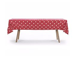 5 PACK, 54″ x 108″ Red Polka Dot Rectangular Plastic Table Cover, Party Table Cloths ...