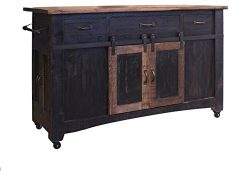 Anton Farmhouse Solid Wood Distressed Black Sliding Barn Door Kitchen Island With Storage And Ro ...