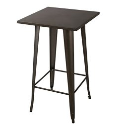23.6″ Square 41.3″ Height Metal Bar Table Bistro Cafe Pub Table Indoor-Outdoor Squar ...