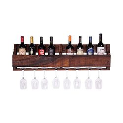 del Hutson Designs – The Olivia Wine Rack, USA Handmade Reclaimed Wood, Wall Mounted, 8 Bo ...