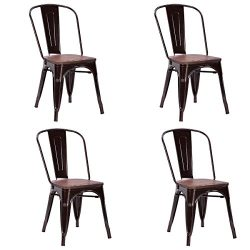 Costway Tolix Style Dining Chairs Industrial Metal Stackable Cafe Side Chair w/ Wood Seat Set of ...