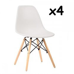 Set of 4 Mid Century Modern Style Plastic Dining Side Chair Wood Legs
